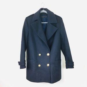 Zara Woman Dark Navy Wool Military Peacoat